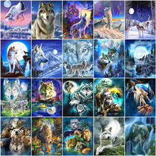 Home-Decoration-Kits Huacan-Painting By-Number Diy-Pictures Drawing Canvas Animal Gift