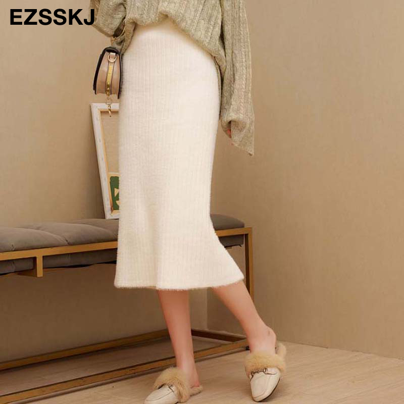 Image 5 - knee length autumn winter women mink cashmere pencil skirt female thick midi sweater skirt sexy split back bodycon skirt-in Skirts from Women's Clothing