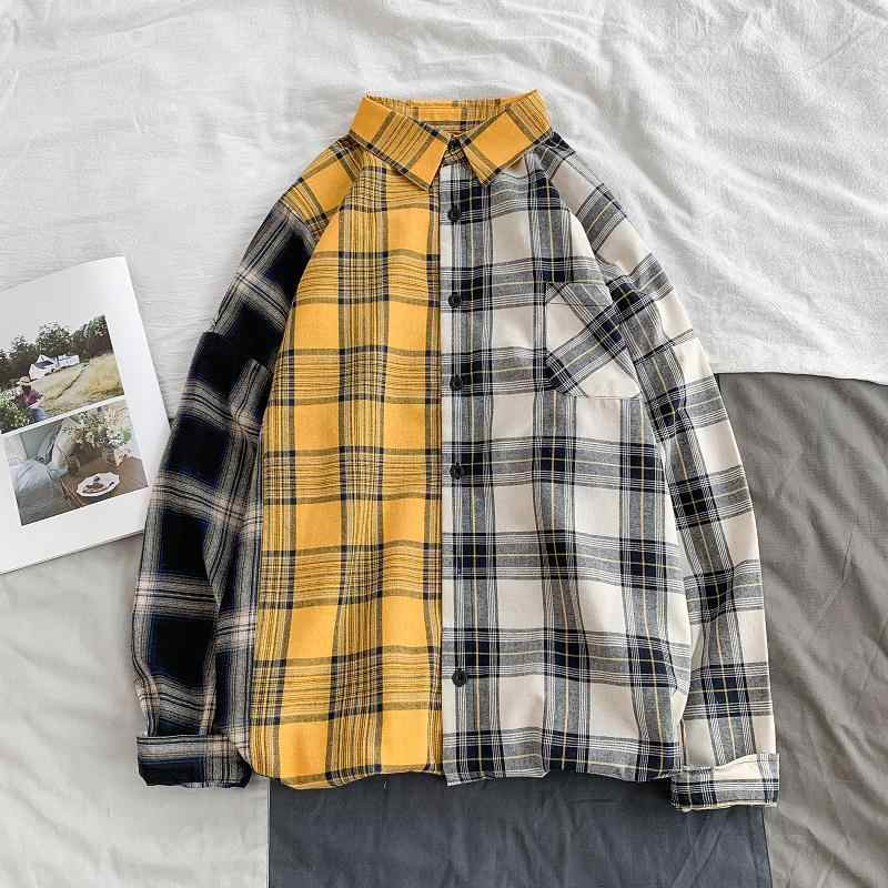 Kleur Blok Lange Mouw Herfst Plaid Shirt Oversized Licht Gewicht Enkele Breasted Losse Fit Lente Flanel Plaid Shirt Plus Size