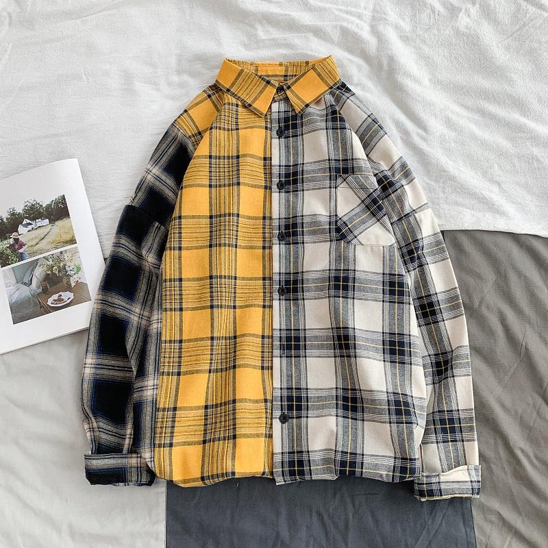 Color Block Long Sleeve Autumn Plus Size Plaid Shirt Oversized Light Weight Single Breasted Loose Fit Spring Flannel Plaid Shirt