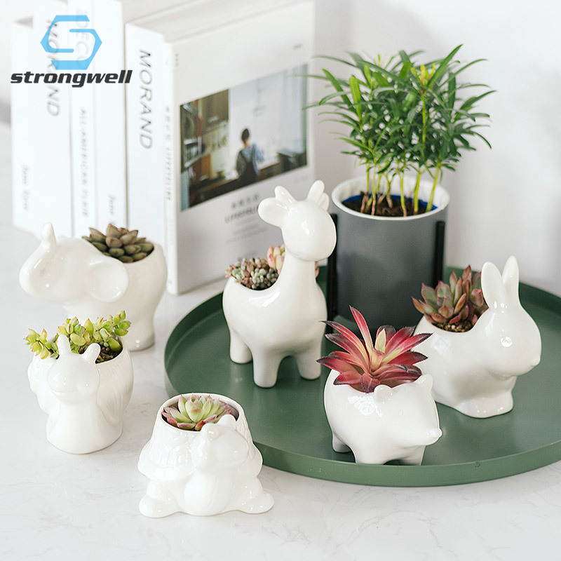 Strongwell Desktop Animal Ceramic Flower Pot Chinese Succulent Pot Crafts Creative Ornaments Home Decoration Birthday Gift Cute