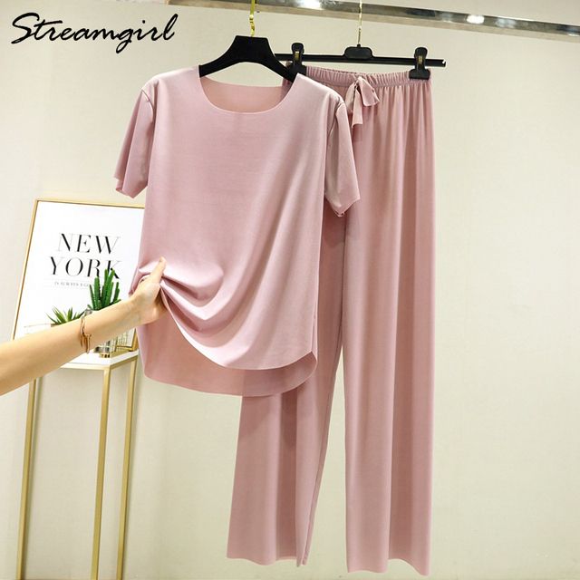 Summer Ice Silk Pants Sets Women Loose T Shirt 2 Piece Wide Leg Pants Woman Soft Ice Silk Pant Suits Summer Sets Womens 2021 6