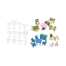4 Set Lots Wooden Dolls House Miniature Accessory Home Furniture Children Toys Gifts & 12 Pcs Doll House Miniature Kitchenware T(China)
