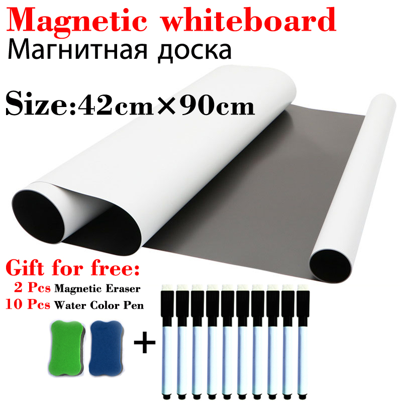 42*90cm Size Magnetic WhiteBoard Fridge Magnets School Home Office Message Board Dry-erase White Board Gift 10 Pen 2 Eraser