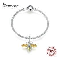 bamoer Original Design Queen Bee Pendant Charm Bracelet Sterling Silver 925 DIY Jewelry Bracelets for Women Luxury Brand SCB830