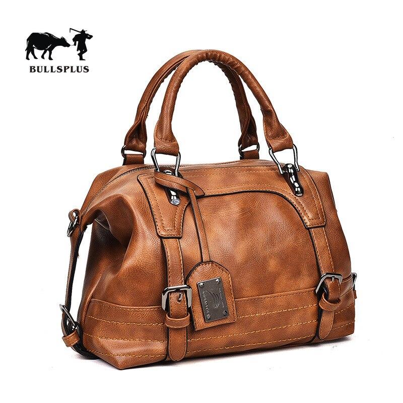 2020new Handbag Boston Soft Leather Women's Bag European And American Fashion Single Shoulder Slanted Restoring Ancient Ways