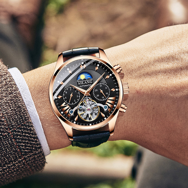 ailang топ люксовый бренд мужские механические часы moon phase фотография