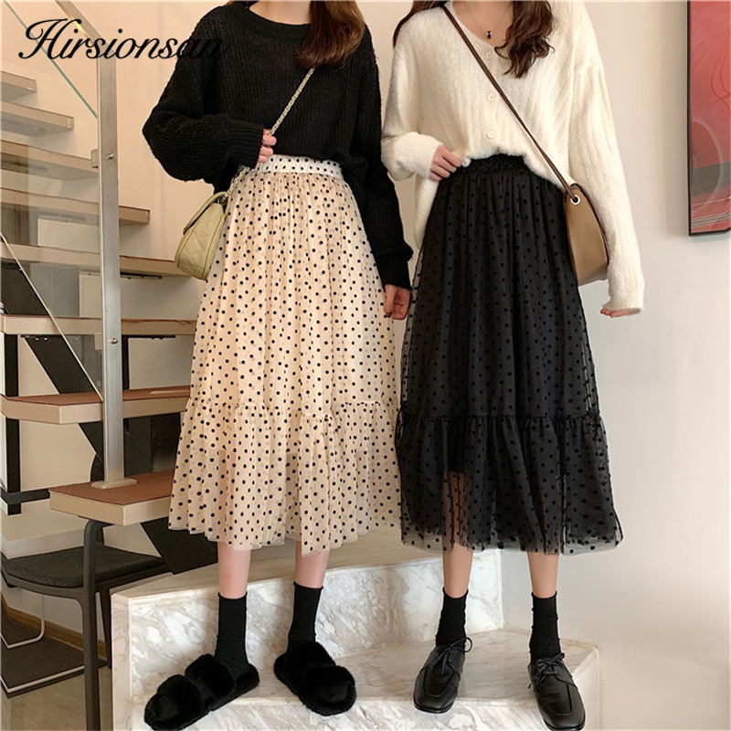 Hirsionsan Dot Printed Female Mesh <font><b>Skirt</b></font> 2020 Spring Summer Sweet Chic Harajuku A Line <font><b>Skirts</b></font> Women High Waist <font><b>Ball</b></font> Gown <font><b>Skirt</b></font> image