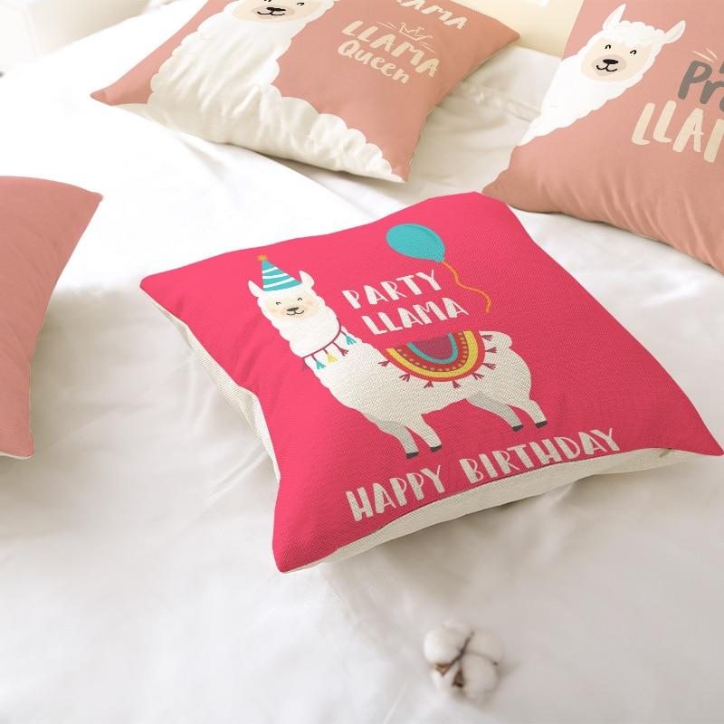1pcs 45x45cm Cartoon Alpaca Line Pillow Case Alpaca Cover Decor Pillow Cover For Sofa Living Room Throw Pillowcase Home Decor
