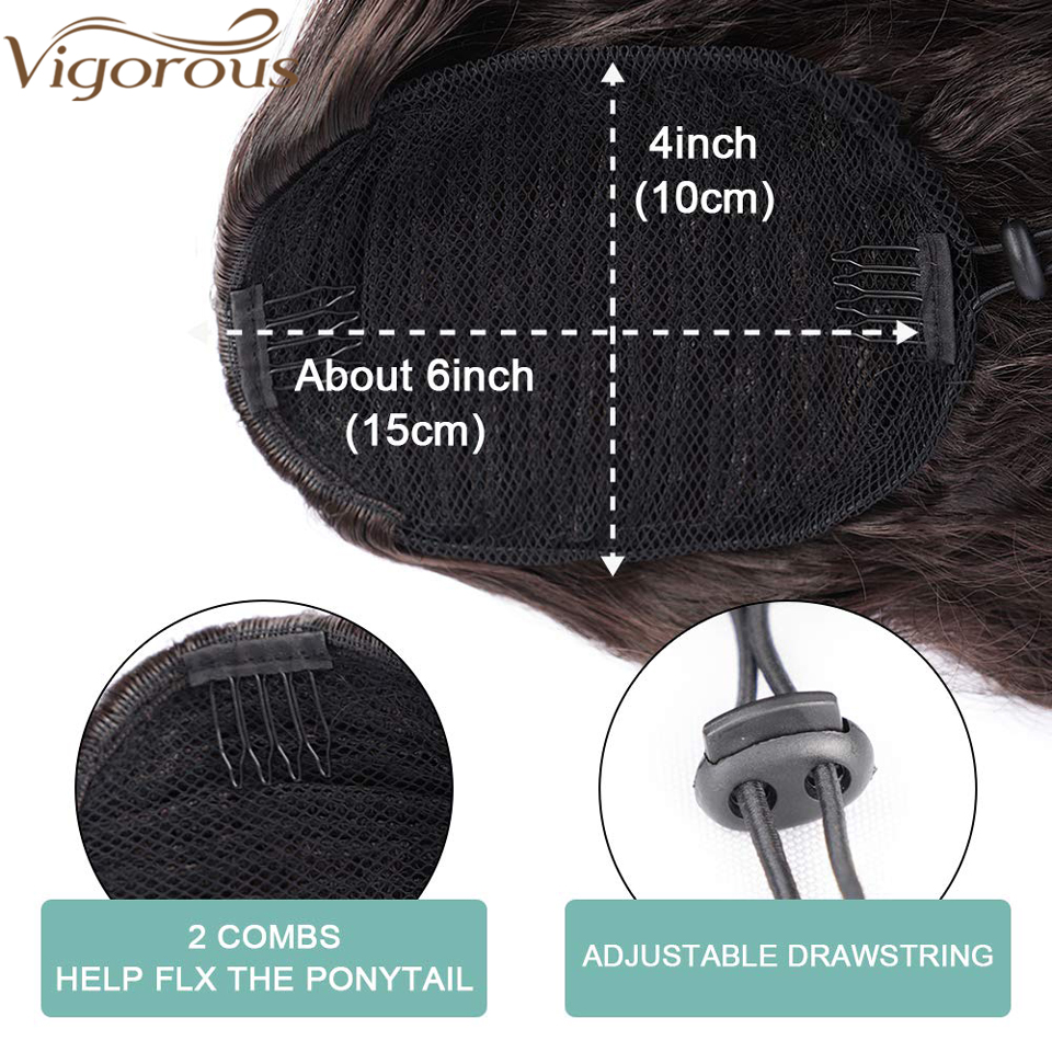 Vigorous Ponytail-Extension Hairpiece Fake-Hair Wavy Drawstring Clip-In Black Long Synthetic
