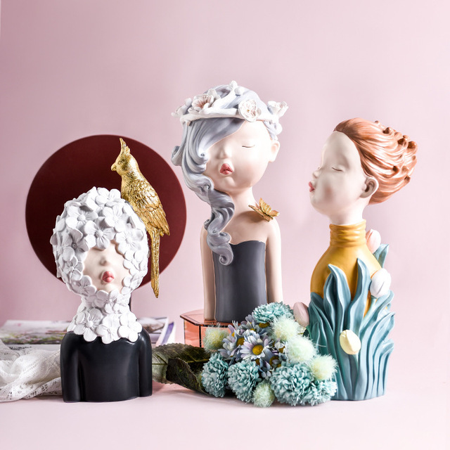 2020 New Arrial Nordic Ins Home Decorations People Statues Resin Figurines Flower Woman Sculpture Living Room Decoration Crafts 3