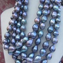 Горячая огромный 11-13 мм Южное море черный синий барокко жемчужное ожерелье