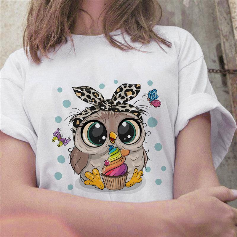 Fashion Trend New T shirt Cute Owl Graphic Printed Female T shirt Casual Harajuku Crew Neck  Ladies Tshirt