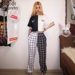 Sisterlinda Contrast Cargo Pant For Women T-shirt Loose Hight Waist Plaid Jogging TrousersSport Pants Elasticity Sportpants Top