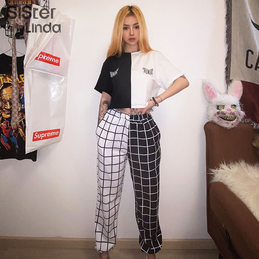 Sisterlinda Stitching Contrast Cargo Pants Women Loose Hight Waist Plaid Trousers Elasticity Sportpants Mujer Sweatpants Women