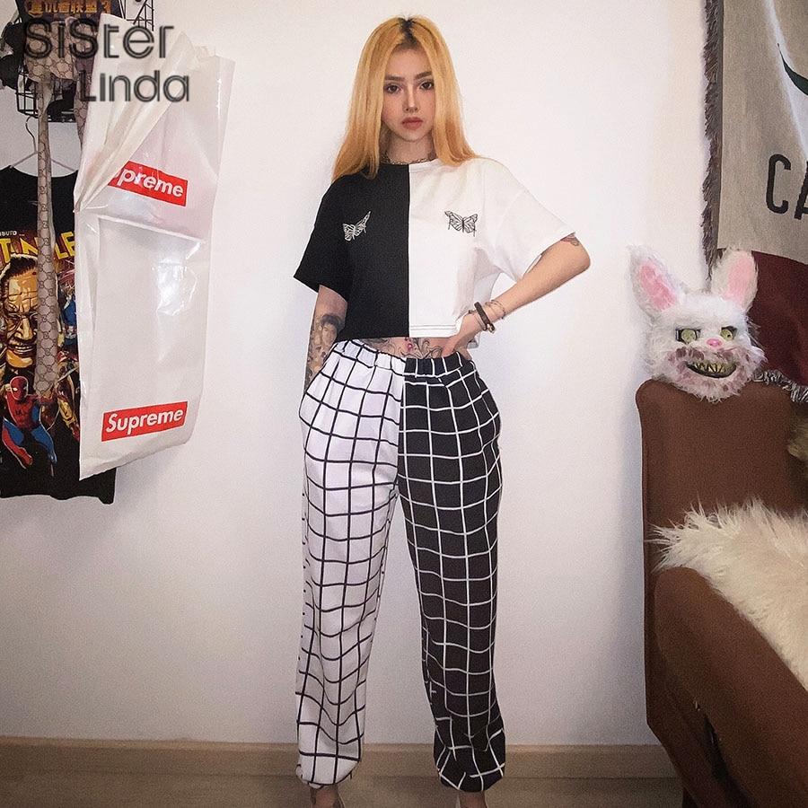 Sisterlinda Stitching Contrast Cargo Pants Women Loose Hight Waist Plaid TrousersElasticity Sportpants Mujer Sweatpants Women