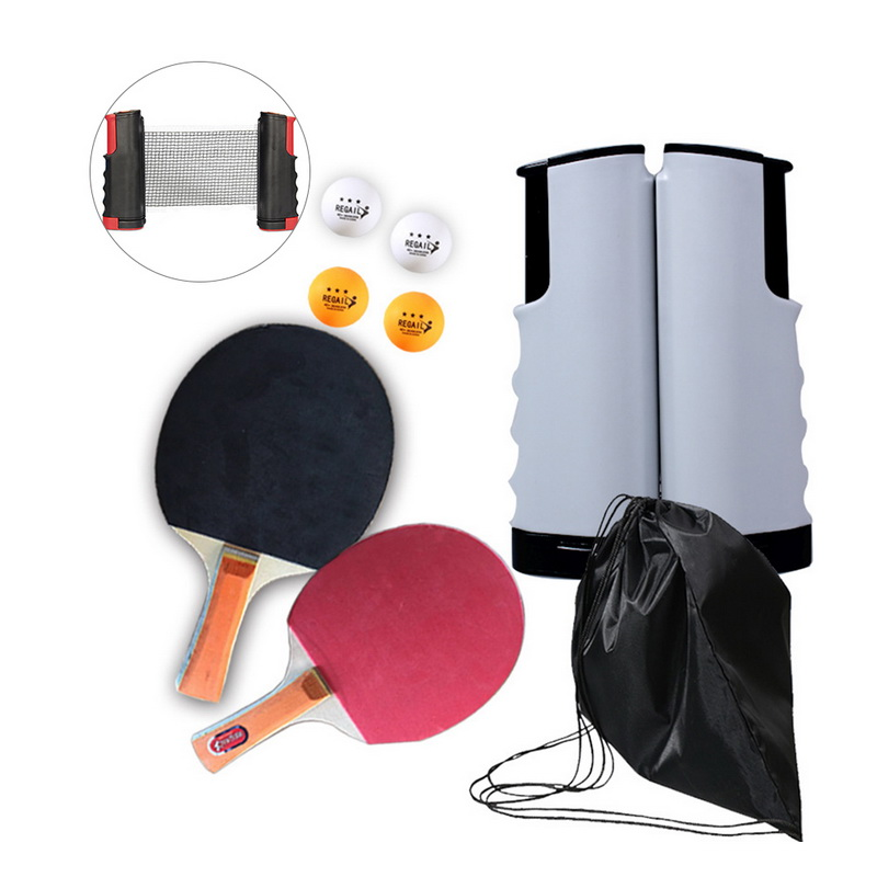 Portable Retractable Table Tennis Net Table Tennis Sports Trainning Set Racket Blade Mesh Net Ping Pong Student Sports Equipment