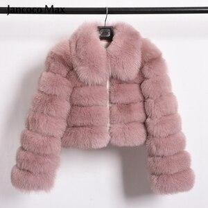 Image 3 - Damski Top Quality prawdziwy lis kurtki futrzane zimowy gruby krótki płaszcz puszysty płaszcz z pełnym rękawem miękki ciepły S7636