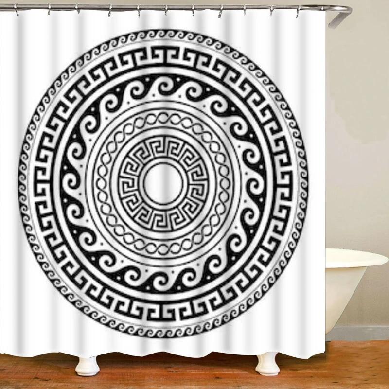 ancient greek keys round mandala shower curtain classic antique meander art bathroom curtains with bath rugs set geomtric decor