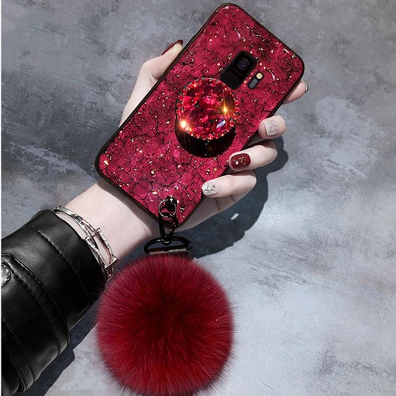 Note20Plus DIY Glitter Diamant Halter Stehen Haar Ball Telefon Fällen Für Samsung Note10plus S7 Rand S10 s8 S20 Plus A51 a71 Abdeckung