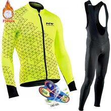 Northwave теплая Зимняя Теплая Флисовая велосипедная одежда NW Мужской трикотажный костюм для езды на велосипеде MTB Одежда комбинезон комплект