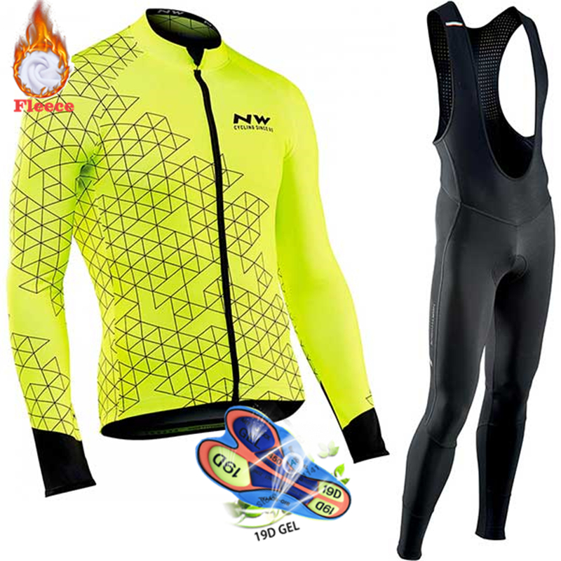 <font><b>Northwave</b></font> Warm <font><b>2019</b></font> Winter Thermal Fleece Cycling Clothes <font><b>NW</b></font> Men's Jersey Suit Outdoor Riding Bike MTB Clothing Bib Pants Set image
