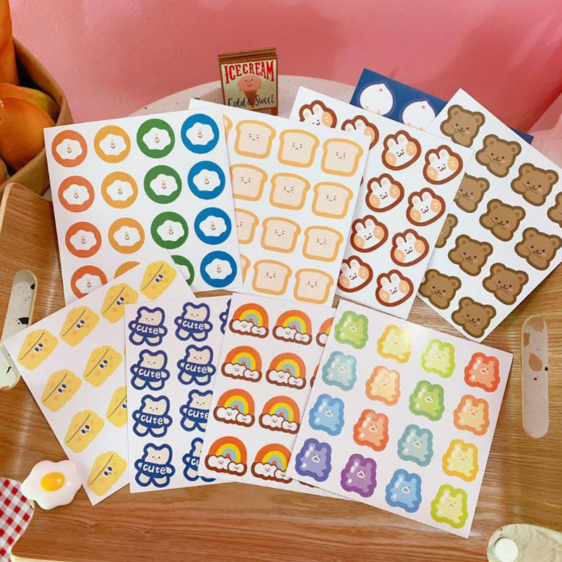 2 Pcs/set Rainbow Rabbit Dog Bear Fruit Label Stickers Suitcase Wall Notebook Phone DIY Seal Stickers Scrapbooking Stationery