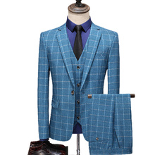 High Quality Three Pieces Sets Suits/Men Mode Business Casual Pack Blazers Jacket Broek Vest