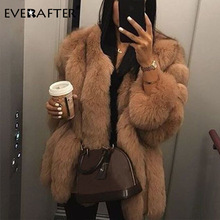 Female Coat Outerwear Jacket Faux-Fur Winter Fashion Thick EVERAFTER S-5XL Tops Warm