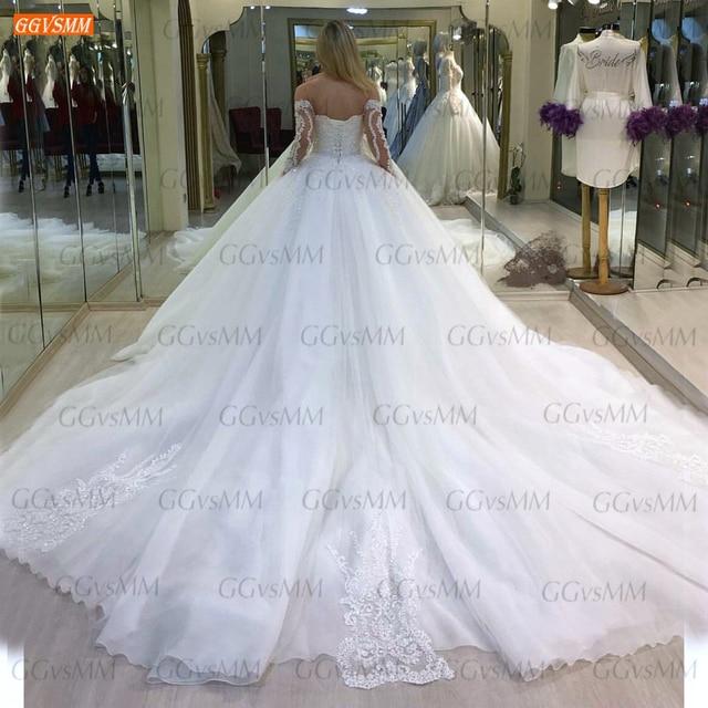 Luxury White Wedding Dresses Lace Up Appliqued Beaded Vestido De Noiva 2020 Custom Made Ball Gown Bridal Dress Long Chapel Train 2