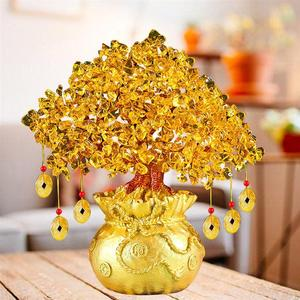 Image 5 - 19cm drzewo na szczęście bogactwo żółte kryształowe drzewo naturalne drzewo na szczęście drzewko szczęścia ozdobne Bonsai styl bogactwo szczęście Feng Shui ozdoby