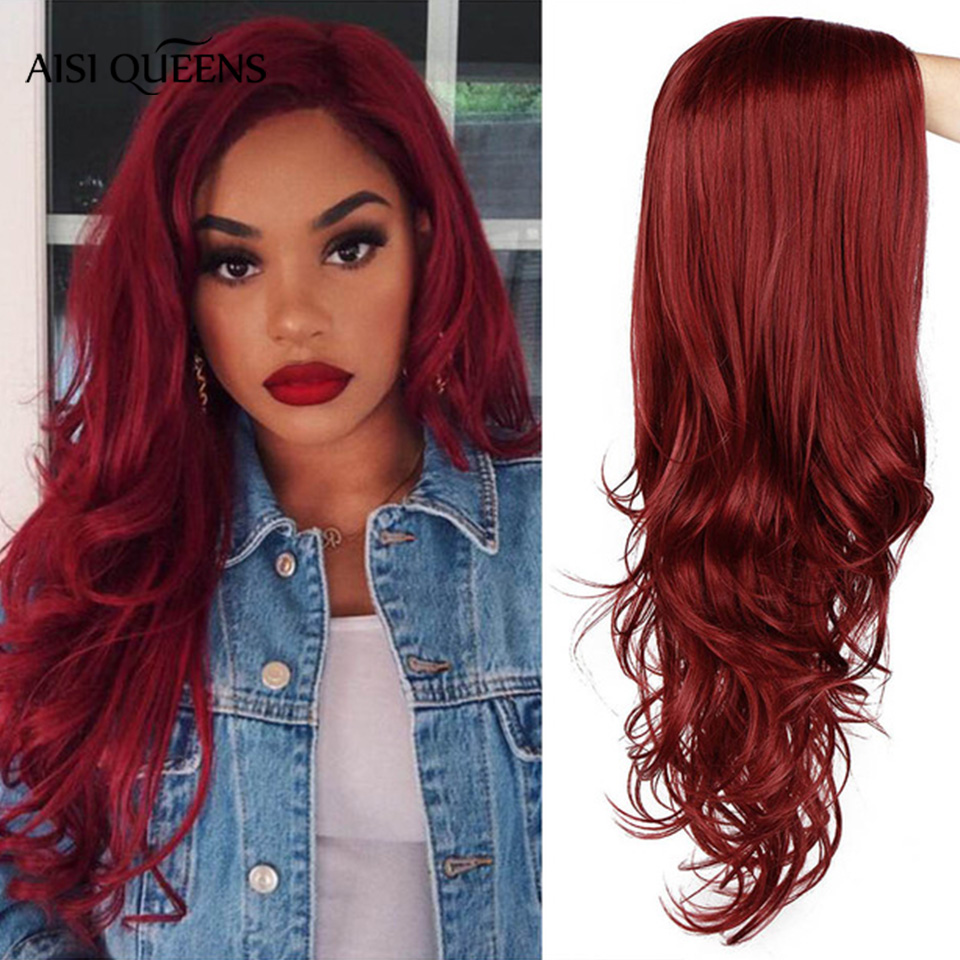 AISI QUEENS Red Wig For Women Long Wavy Synthetic Wig Cosplay Black Pink Wigs Partial Division Natural High Temperature Fiber