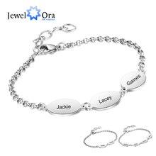 Kişiselleştirilmiş oyulmuş bilezikler çiftler için en iyi arkadaşı özel 2 ila 4 isimleri paslanmaz çelik zincir bileklik (JewelOra BA102665)