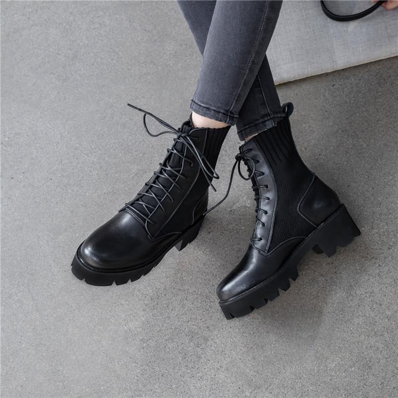 Dilalula Neue Winter Warme Frauen Mitte Wade Stiefel Damen Martins Schuhe Frau Echt Leder Casual Dating Stricken Kurze Damen Stiefel