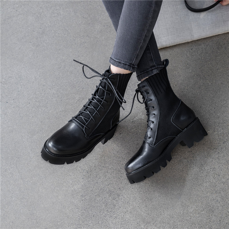 Dilalula New Winter Warm Women Mid Calf Boots Ladies Martins Shoes Woman Real Leather Casual Dating Knitting Short Ladies Boots