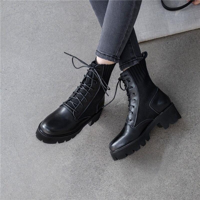 Dilalula Novo Inverno Quente Botas Mulheres Meados de Bezerro Senhoras Martins Botas de Couro Real Sapatos Mulher Namoro Casual Tricô Senhoras Curtas