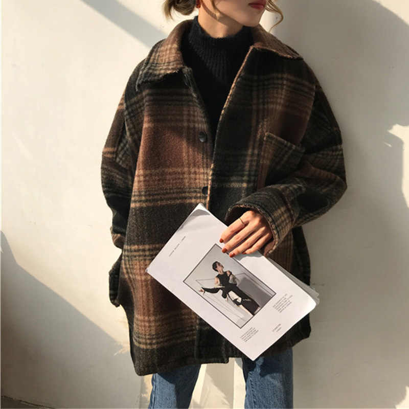 Women's Winter Plaid Wool Blends Vintage Coat Jacket Check Batwing Sleeve Korean Woman Coats 2019 Autumn Pocket Outerwear Ladies