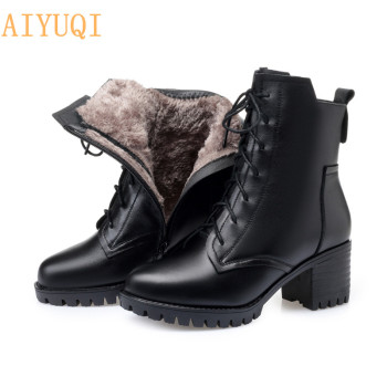 AIYUQI Booties women genuine leather 2020 new winter army boots military Female Martin boots women cow leather boots for women aiyuqi women martin boots suede women low heeled 2019 new genuine leather shining boots pointed british wind female ankle boots