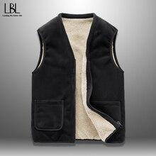 Vest Jacket Outwear Spring Fleece Warm Autumn Male Double-Sided Plus-Size 5XL Solid Homme
