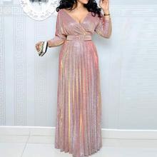 2020 reflexivo vestido longo feminino plissado sexy decote em v profundo elegante outono cintura alta cinto glitter noite festa rosa maxi vestidos