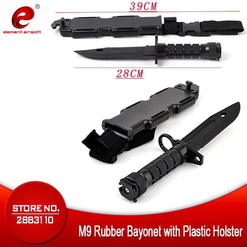 Element M9 Tactical Dagger Cosplay Plastic Thanksgiving Gift Rubber Bayonet With Plastic Holster CS Halloween Gift Knifes CY337