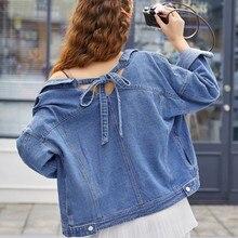 Vintage Streetwear Female Jacket Casual Loose Womens Denim Spring Autumn Women Back Tether Short Bomber