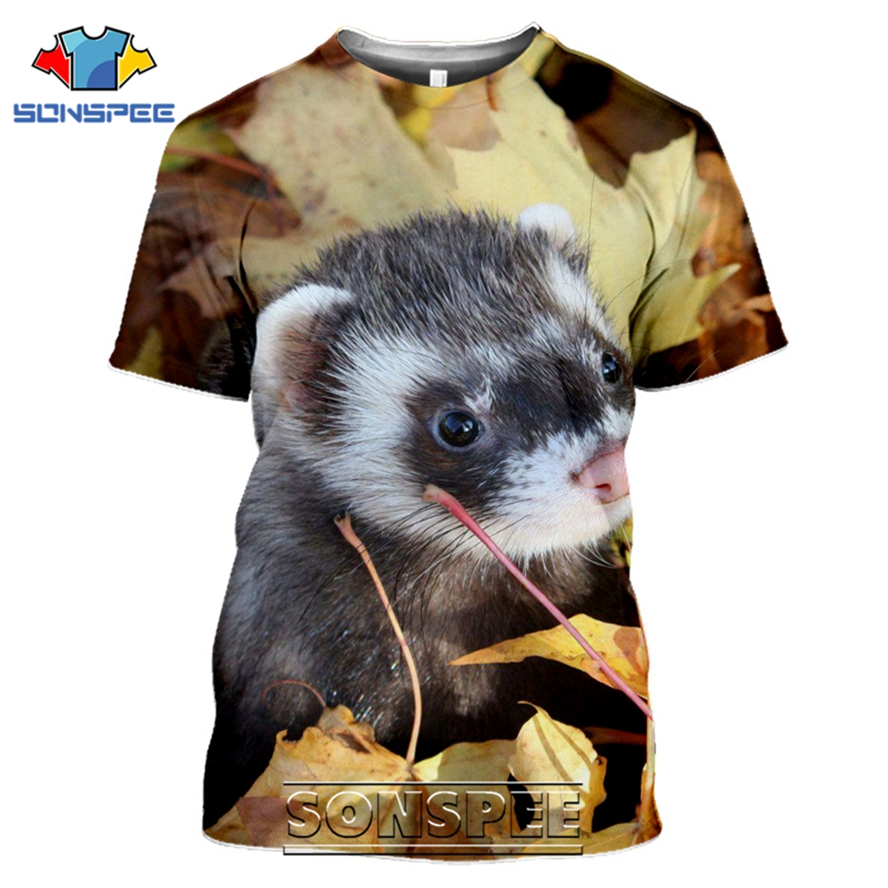 SONSPEE 3D Print Men Women Ferrets T-shirts Short Sleeve Funny Casual Hip Hop Harajuku Streetwear Cute Animal Tees Tops Shirt