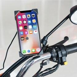 Telefon wspornik 360 ° obrót USB ładowarka lusterko wsteczne jednym kliknięciem teleskopowy uchwyt na telefon do motocykla
