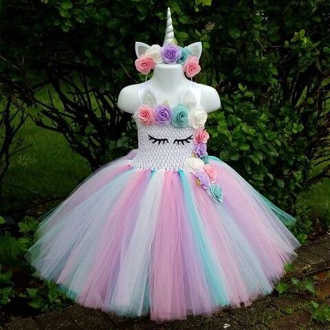 bonito do bebe unicornio flor tutu vestido meninas croche pastel tule vestido com hairbow criancas