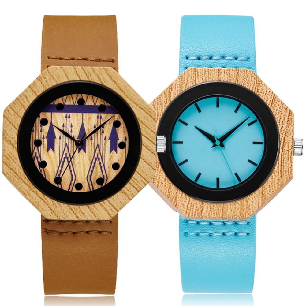 Wood Watch Men Women Couple Unisex Imitation Bamboo Wooden Clock Quartz Watches Wristwatch Quartz Clock Sports Reloj Gift Box