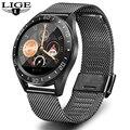 LIGE 2019 новые черные умные часы из нержавеющей стали  мужские часы для измерения сердечного ритма  кровяного давления  фитнес-трекер  спортивн...