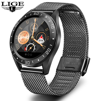 LIGE 2019 New stainless steel Black Smart Watch Men Heart Rate Blood Pressure Fitness tracker Sport Watch waterproof Smartwatch