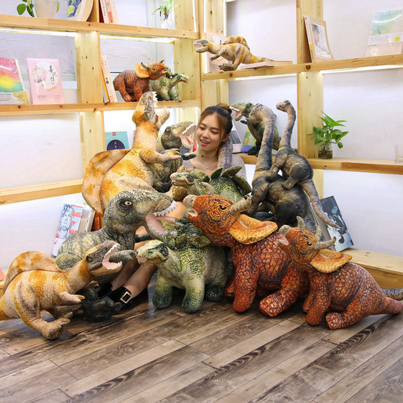 Simulation Dinosaur Plush Toys Soft Cartoon Pillows Lifelike Tyrannosaurus Stuffed Doll For Boys Kids Birthday Christmas Gift