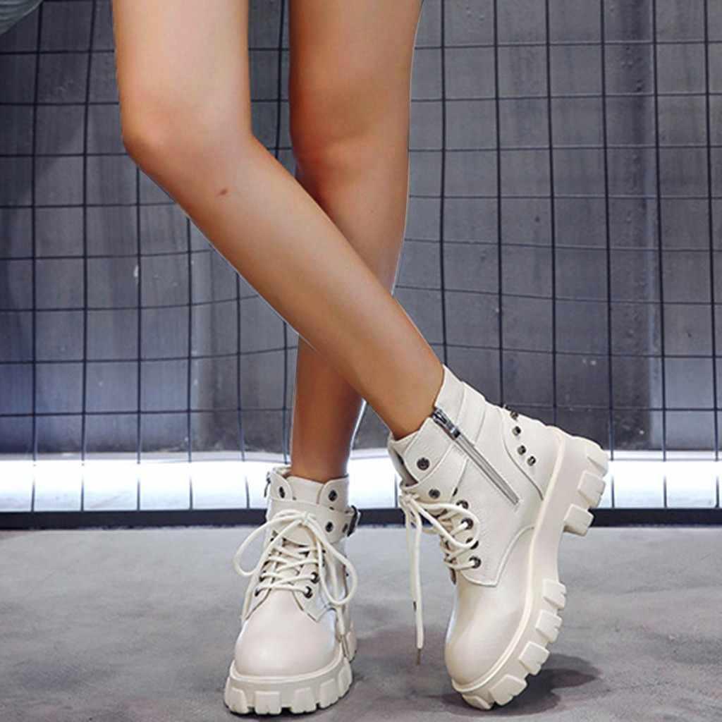 Kadın ayak bileği platformları Martin çizmeler sonbahar kış katı renk fermuar Punk kemer tokası perçinler serin dantel Up çizmeler kadın ayakkabısı